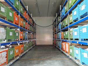 scaffalature industriali compattabile per portacontenitori metallici