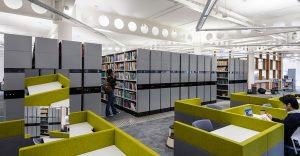 Scaffalature compattabili per biblioteca